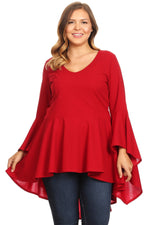 Red Laurel Flutter Sleeve Top