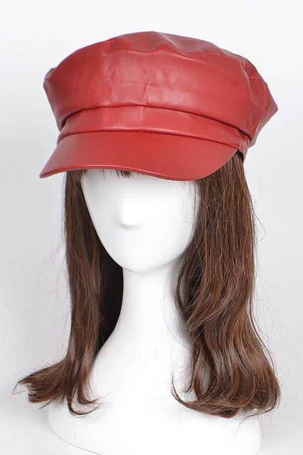 Red Captain Faux Leather Hat