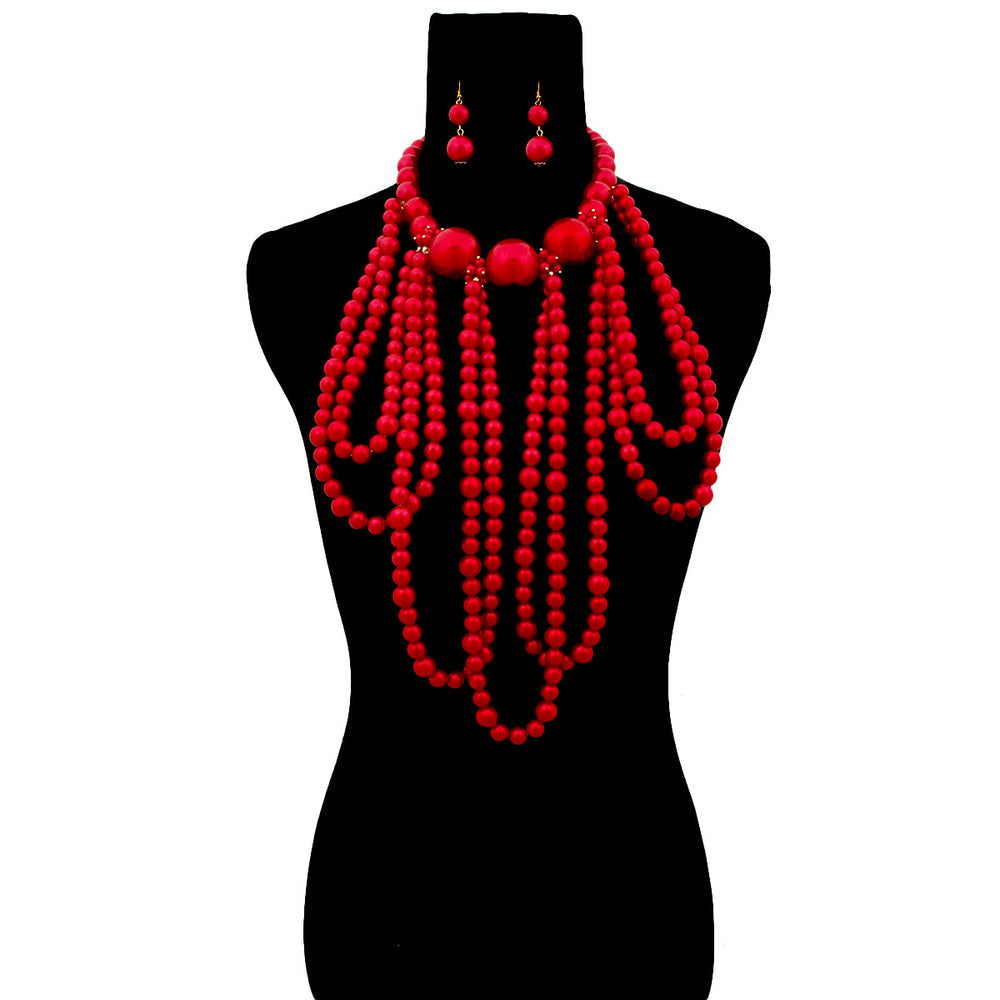 Red Pearl Long Draping Necklace Set