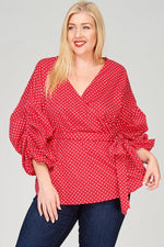 Red Polka Dot Wrap Top