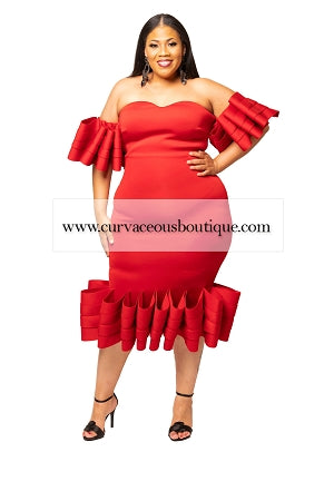 Red Avery Ruffle Layer Dress