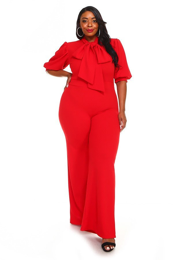 Red Destinee Bow Tie Jumpsuit