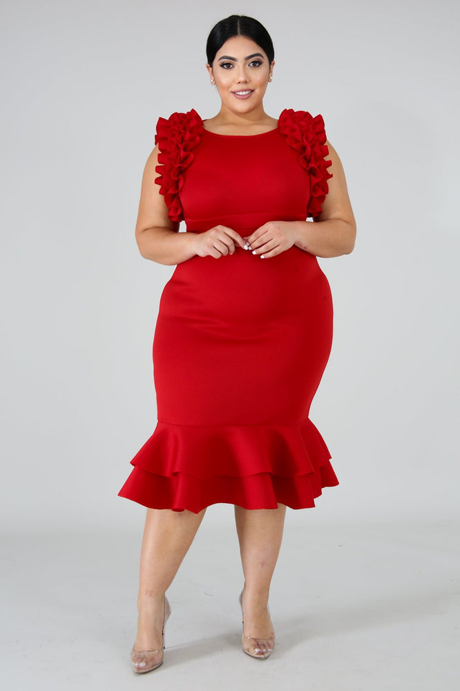 Red Moni Pleats Dress