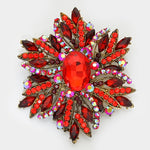 Red and Gold Rhinestone Brooch