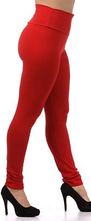 Red Cotton High Waist Leggings