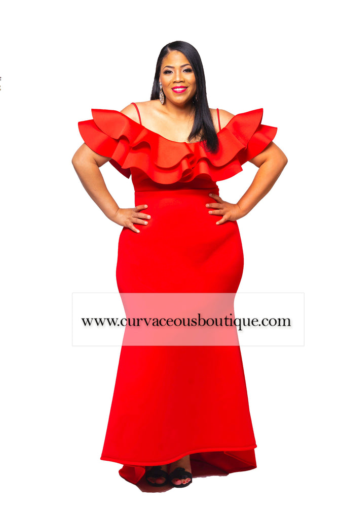 Red Kim Ruffle Gown