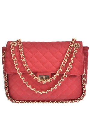 Red Quilted Chain Hangbag