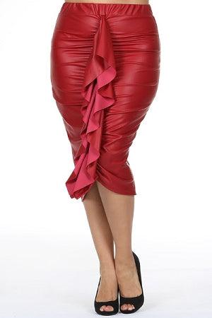 Red Ruffle Faux Leather Skirt