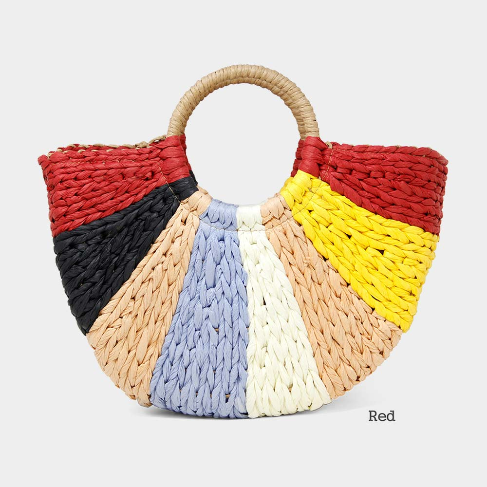 Red Multi Straw Tote Bag