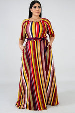 Red Stripe Print Emily Belt Gown