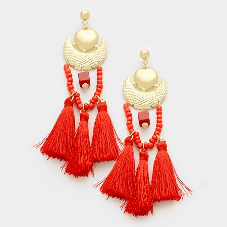 Red Triple Tassel Earrings