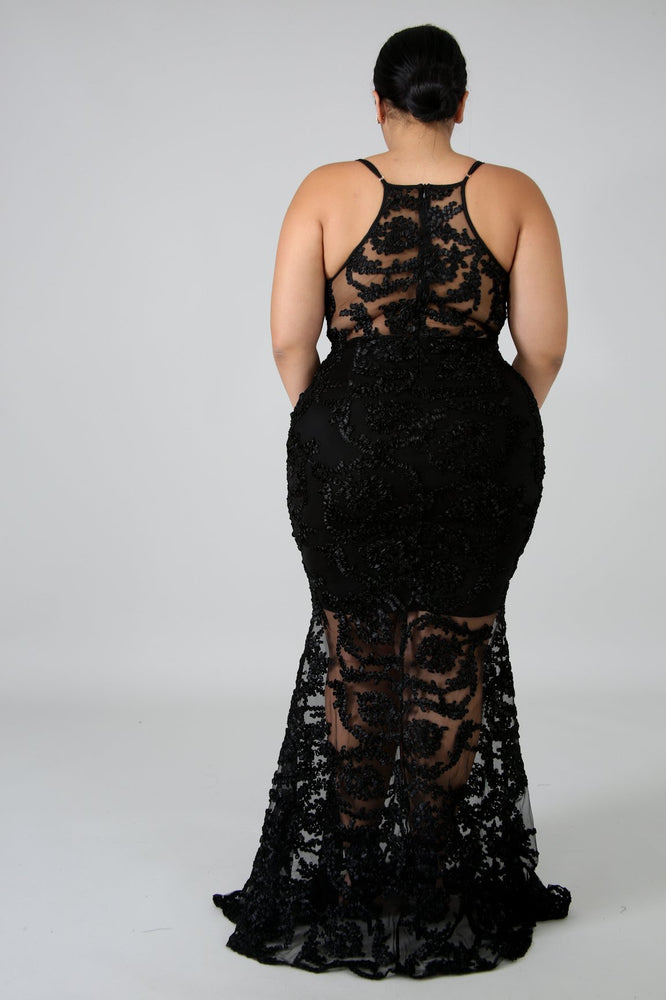Black Remington Swirl Mermaid Gown
