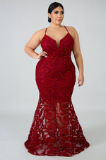 Burgundy Remington Swirl Mermaid Gown