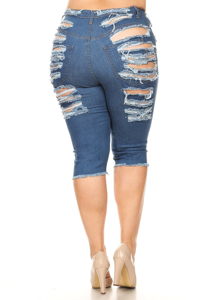 Denim Ultra Sliced Frayed Bermuda