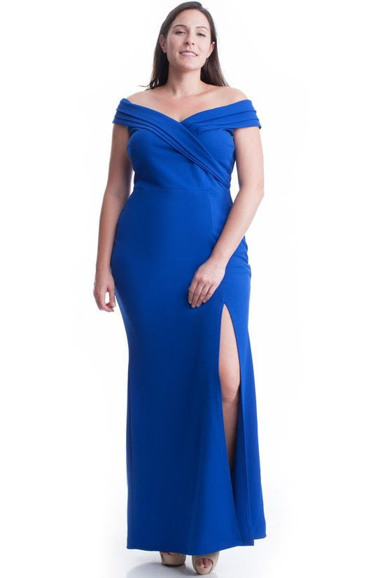 Royal Blue Rhonda Off Shoulder Gown