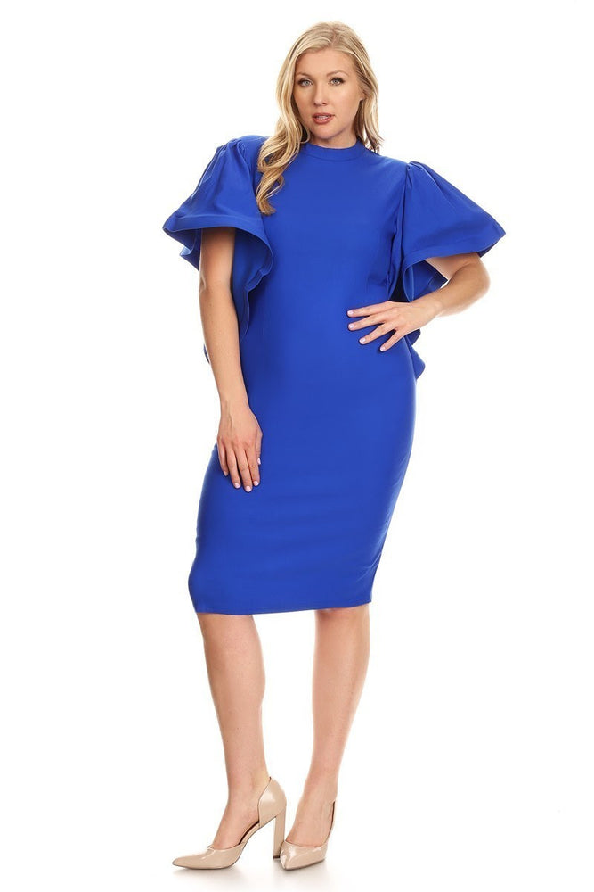 Royal Blue Kenya Ruffle Shoulder Dress