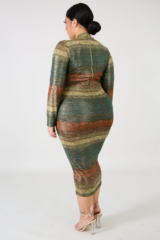 Rusty Metallic Body-Con Dress