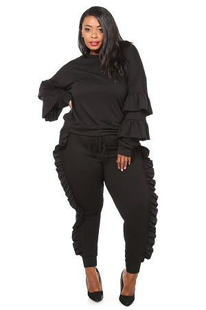 Black Sailor Ruffle Jogger Set