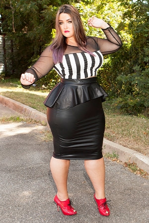 Black Faux Leather Peplum Skirt