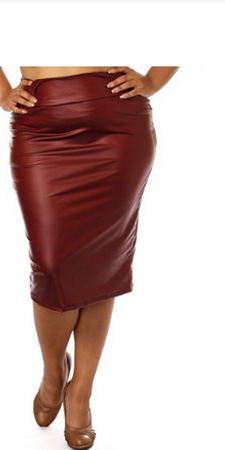 cheap latest discount best selection of Burgundy Faux Leather Pencil Skirt