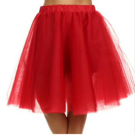 Red Mesh Tulle Skirt