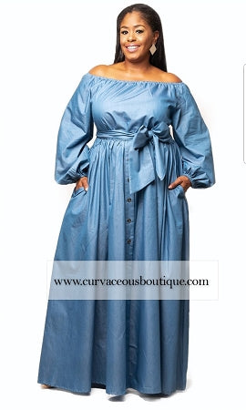 Blue Zoie Off Shoulder Maxi Dress
