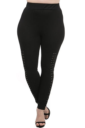 Black Front Lace Up Leggings