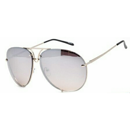 Silver Large Mirror Aviator Glasses