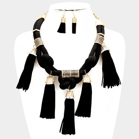 Suede Tassel Bib Necklace Set