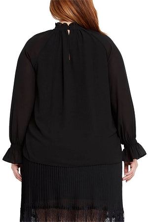 Black Tammy Pleated Blouse