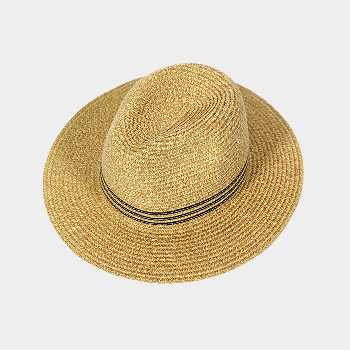 Tan Striped Straw Fedora Hat