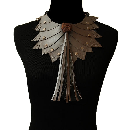 Brown Leather Tassel Choker Necklace