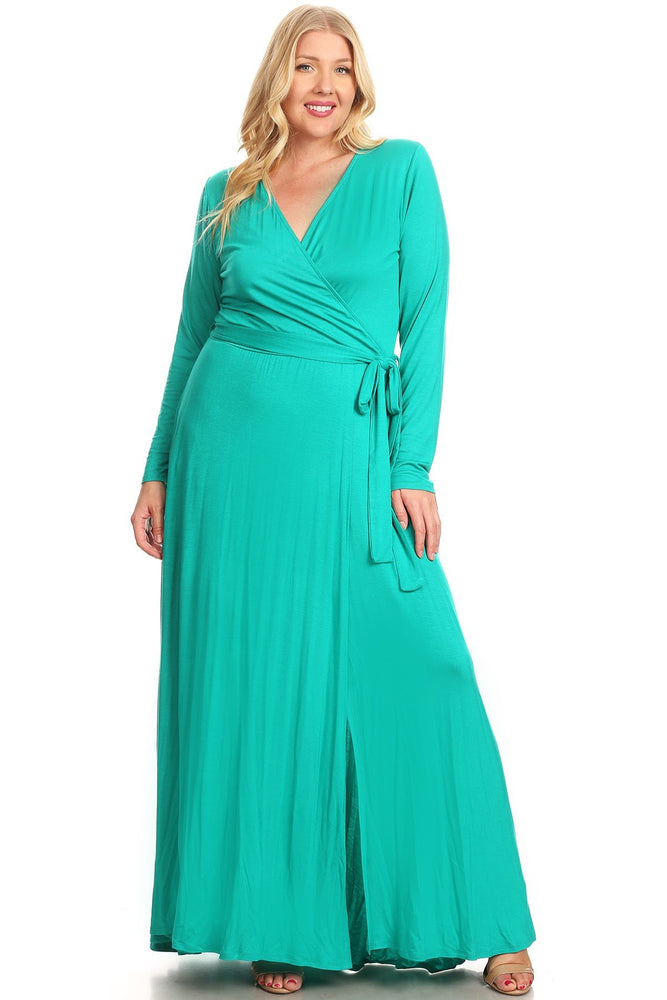 Teal Grace Wrap Maxi Dress