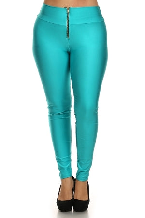 Teal Disco Zipper Leggings