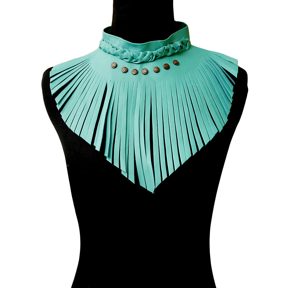 Turquoise Leather Fringe Choker Necklace