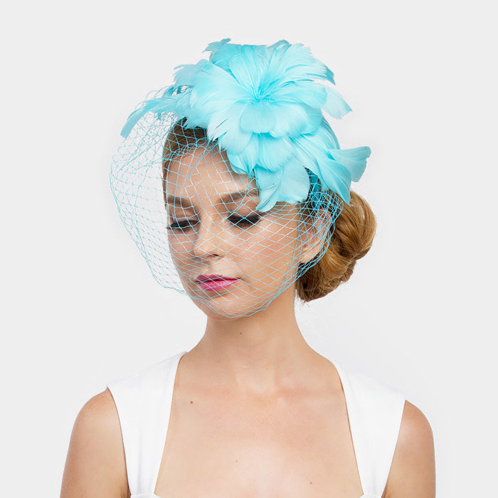 Turquoise Feather Fascinator Hat – Curvaceous Boutique 5b63f33bbb8