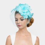 Turquoise Feather Fascinator Hat