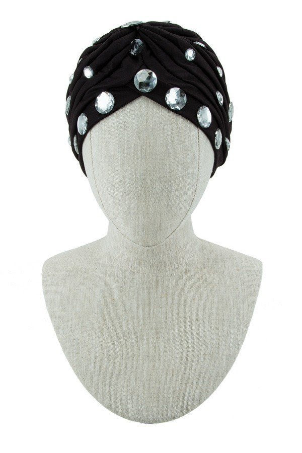 Black Round Crystal Decorated Turban