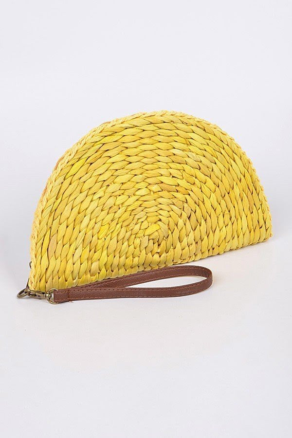 Yellow Half Circle Straw Clutch