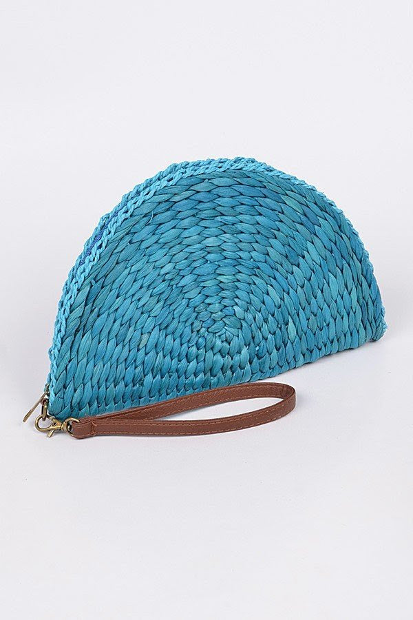 Teal Half Circle Straw Clutch