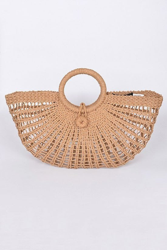 Fan Straw Clutch