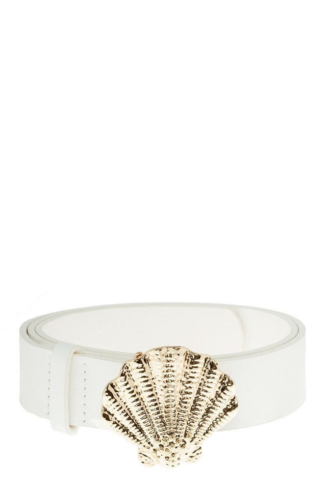 White Sea Shell Buckle Belt