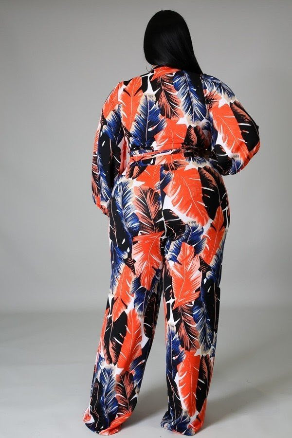 Get Tropical Leaf Pant Set
