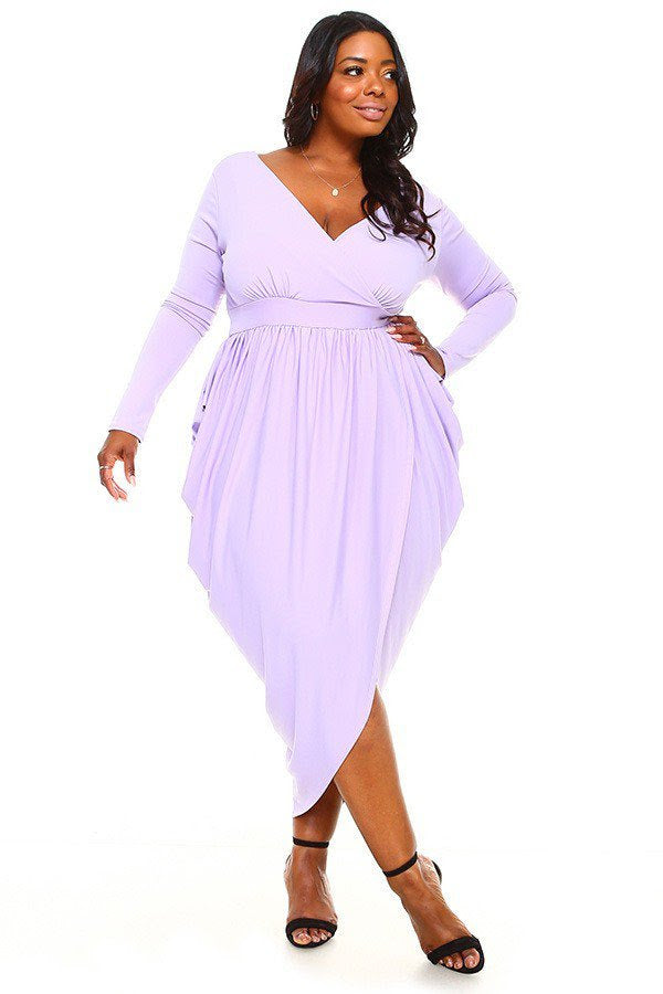 Lavender  Plunging Goddess Dress
