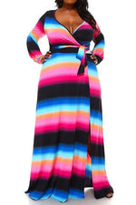 Pink Stripe Grace Wrap Maxi Dress