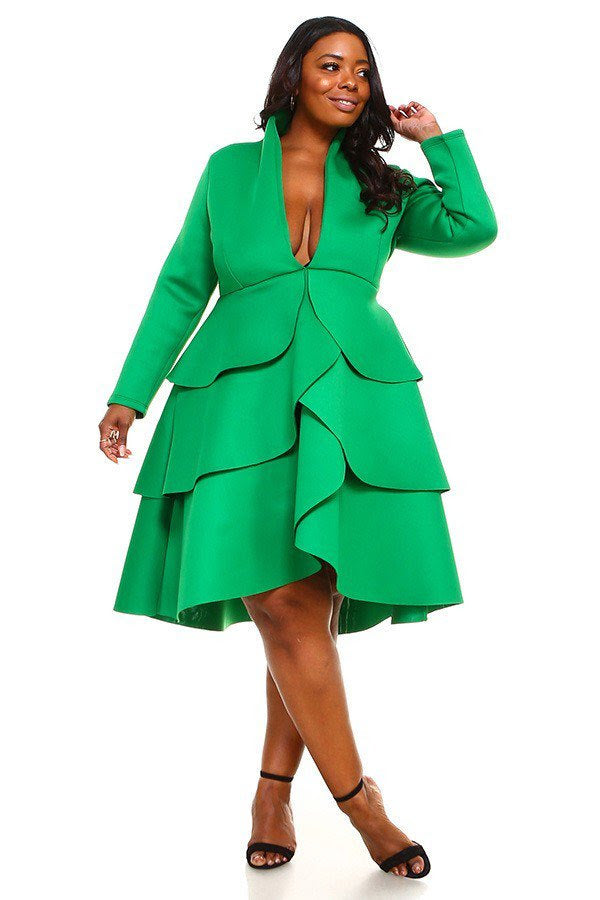 Green Zandra Petal Dress