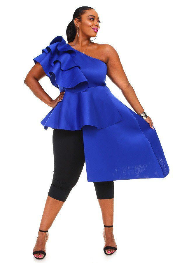 Royal Blue Faye Cascading Top