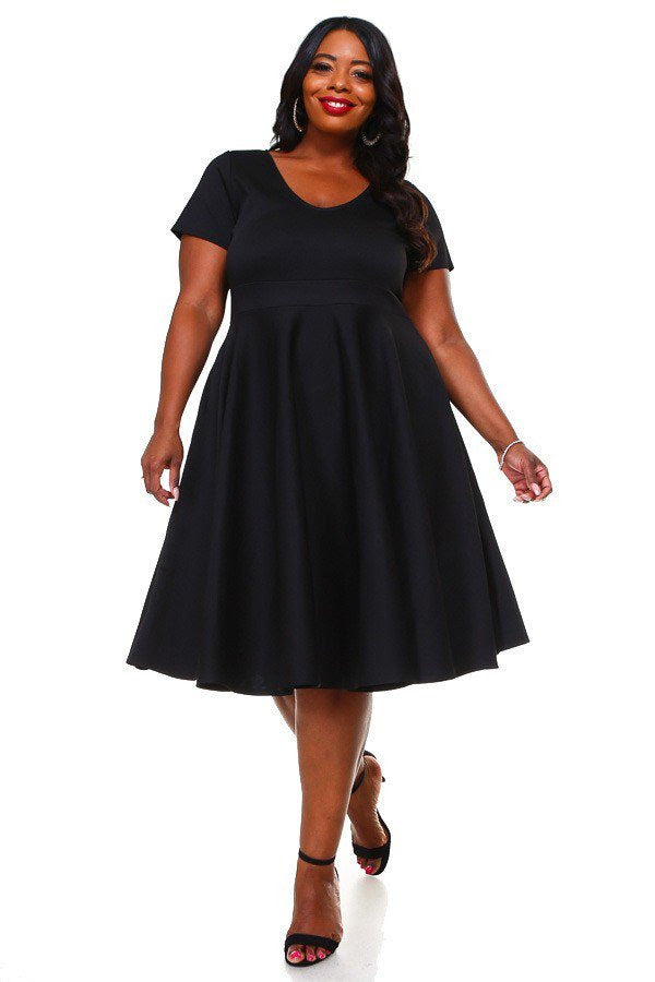 Black Rania Flare Dress