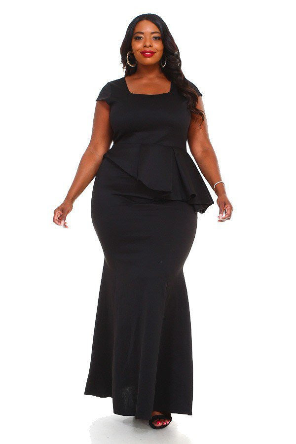 Black LeAnn Peplum Dress