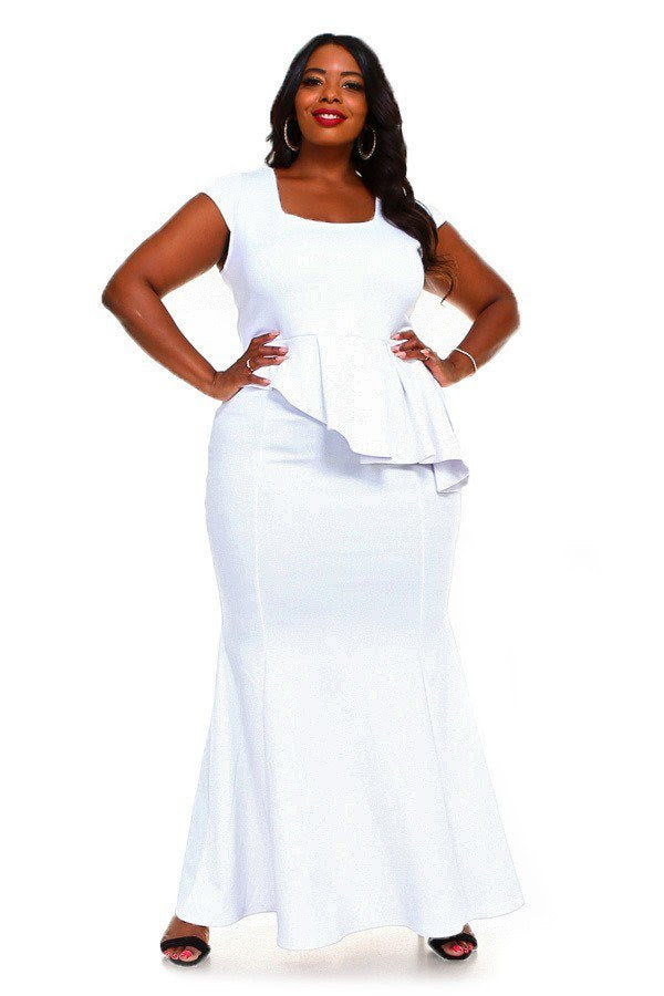 White LeAnn Peplum Dress